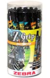 Zebra Pen Z-Grip Animals Retractable Ballpoint Pens, Black Ink, 1.0 mm, Assorted Designs, 30 Pieces (22857)