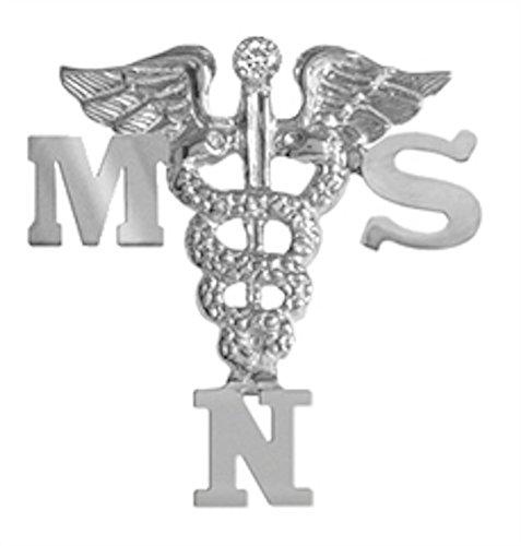 NursingPin - Masters of Science in Nursing MSN Pin with Diamond in Silver
