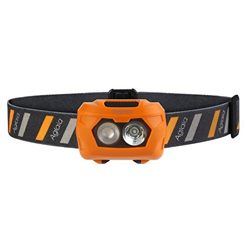 Aglaia LED Head Lamp, Battery Powered Headlight with 3 Modes and Water Resistance for Camping, Running, Hiking and Reading (3 AAA Batteries Included)