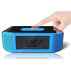Digital Alarm Clock, Loud Electric Clocks with Snooze, Sound Control, Countdown Time Setting, Small Alarm Clocks for Kids, Women, Desk, Home, Kitchen, Bedside (blue/black)