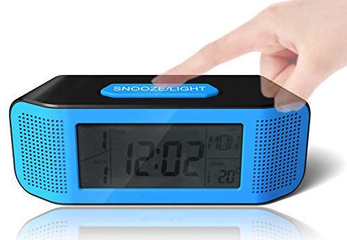 Am By Baby Motion Bed (Digital Alarm Clock, Loud Electric Clocks with Snooze, Sound Control, Countdown Time Setting, Small Alarm Clocks for Kids, Women, Desk, Home, Kitchen, Bedside (blue/black))