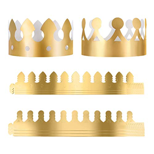 24 Pcs Birthday gold paper Crowns King Golden Hat for Boy Girls Adults -
