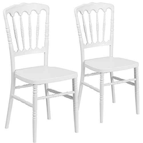 - Flash Furniture 2 Pk. HERCULES Series White Resin Stacking Napoleon Chair