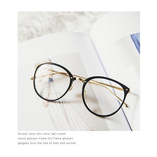 Unisex Brille Metall Brillengestell Brillenfassung, Pingenaneer klare Linse Brille Ohne Stärke Nerdbrille Dekobrillen für Herren und Damen Transparent