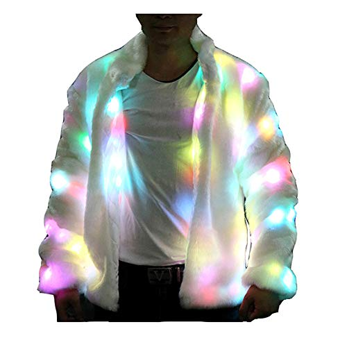 General Adult Man Faux Fur Outwear Winter Light up Party Halloween Costume LED Coat Jacket (White, -