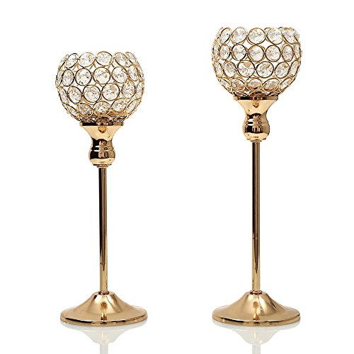 Candle wedding centerpieces amazon vincigant gold crystal candle holders coffee table decorative centerpiece candlesticks set for dining table decorationsgifts for thanksgivingbirthday junglespirit Gallery