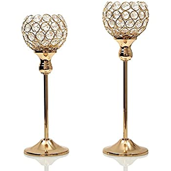 Charming VINCIGANT Gold Crystal Candle Holders Coffee Table Decorative Centerpiece  Candlesticks Set For Dining Table Decorations,