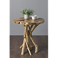 East at Main Dimitri Natural Contemporary Round Teak End Table, 20.5x20.5x20.5