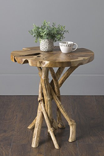 East at Main Dimitri Natural Contemporary Round Teak End Table, ()