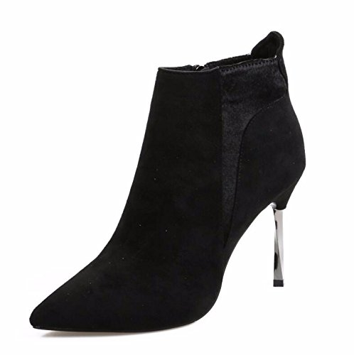 Heeled Winter Black High With Cotton Boots Fine Boots Boots Zipper Side KHSKX Satin 34 Martin And Autumn Bare Women 10Cm And Boots Short Tip dPfqYXx