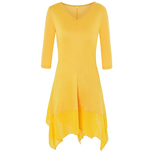 Loose Plus Top Shirt T Swing Shirt Dress Kenancy Hem Midi Short Women's Yellow Irregular Size Dress Sleeve Dress a5wcqtg