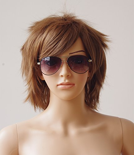 Light-Brown-Cosplay-Synthetic-Wig-Short-Anime-Wig-with-Bangs-20-Styles-Layered-Fluffy-Hair-Oblique-Fringe-Full-Head-Unisex-for-Man-and-Women-Girls