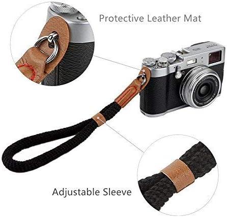 Camera Hand Wrist Strap Black Soft Cotton Wrist Strap for Sony A6000 A6300 A6500 Fujifilm X100F X100T X100S X100 X-T2 X-T10 X-T20 X-E2 X-E3 and Other Mirrorless Cameras