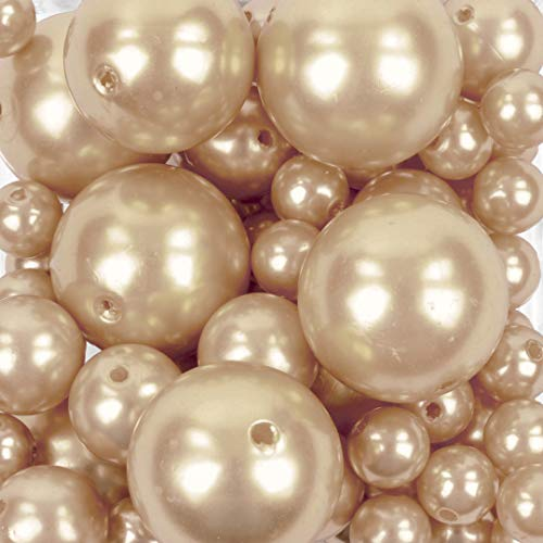 Koyal Wholesale 80 Piece Floating Pearl Beads Peach Pink in Transparent Water Gels, Wedding Floating Candle Centerpieces