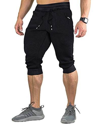 FASKUNOIE Three Quarter Capri Shorts for Men 3/4 Jogger Exercise Active Short Pants Black