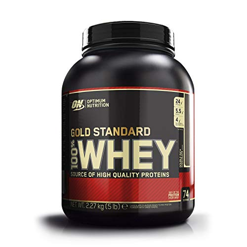 Optimum Nutrition ON Gold Standard Whey Protein Pulver, Eiweißpulver zum Muskelaufbau, natürlich enthaltene BCAA und Glutamin,, Double Rich Chocolate, 34 Portionen, 2,26kg, Verpackung kann Variieren