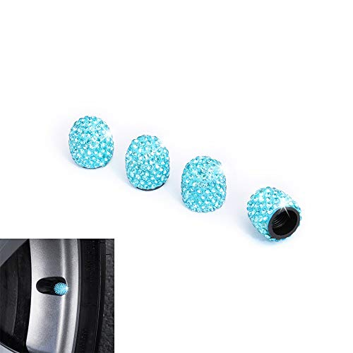 Royalfox 4 Pieces Jeweled Bling Diamond Rhinestone Tire Wheel Stem Valve Caps Cover for Car Truck (Sky Blue)
