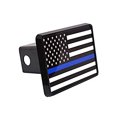 Thin Blue Line Flag Trailer Hitch Cover Plug US Blue Lives Matter Police Officer Law Enforcement: Automotive