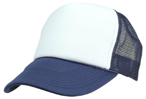 (DALIX Two Tone Trucker Cap in Navy Blue and White)