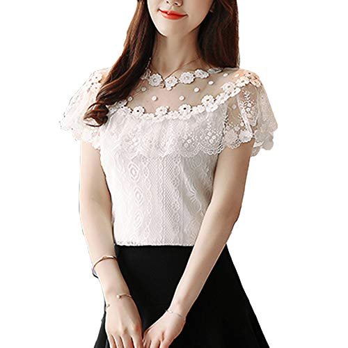 SansoiSan O-Neck Hollow Out Ruffles Short Sleeve Women Lace Tees Blouse Flower Sweet T-Shirts Tops for Women (White, Medium)