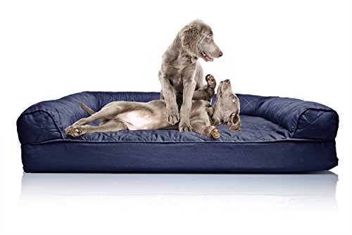 FurHaven Jumbo Quilted Orthopedic Sofa Pet Bed for Dogs and Cats - Navy