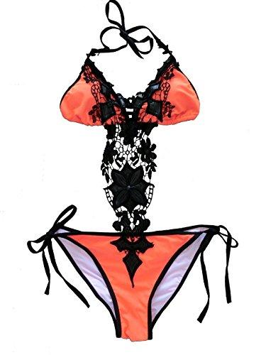 Cocoship Orange Lace Handmade Flower One Piece Bikini Swimsuit Bathing suit L(FBA)