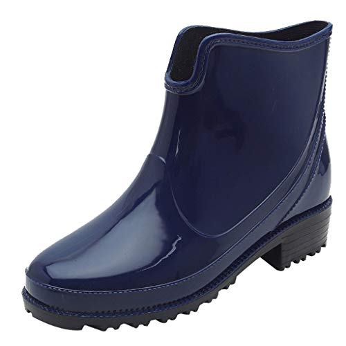 Goddessvan Punk Style Ankle Short Rain Boots Women Non-Slip Rain Boots Outdoor Rubber Water Shoes Blue