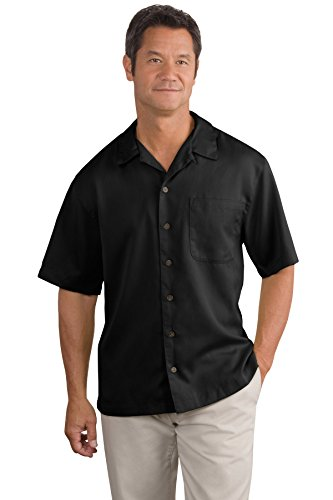 Texture Camp Shirt - Port Authority Men's Easy Care Camp Shirt L Black