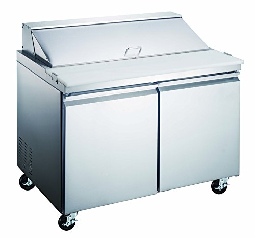 """2 Door 48"""" Stainless Steel Sandwich Salad Prep Table - Refrigerated Work Station for Commercial Kitchen"""