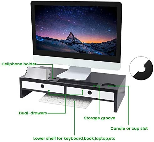 Monitor Stand Riser with Drawers,Desk Organizer with Keyboard Storage,Computer Accessories Sturdy Laptop Cellphone TV Printer Stand for Home & Office Use,Black