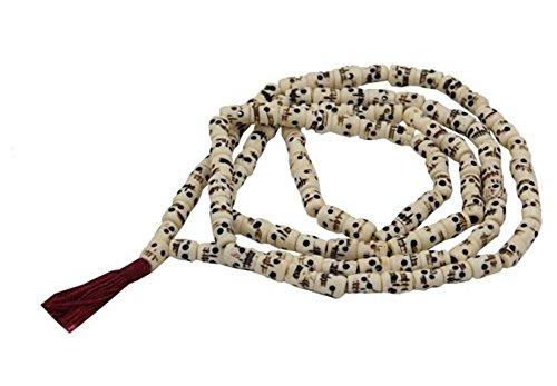 (OMA Tibetan Yak Bone Yogi 108 Beads Skull Mala Wrap Bracelet Necklace Brand)