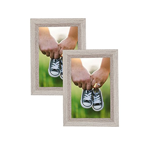 MDF Ash Ash Contemporary Picture Frame 4X6 Photo Display with PVC Lens, Easel Back, Hanging Clip | 2 PIECE SET (Ash, Set of 2)