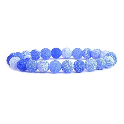 (Light Blue Weathered Agate Gemstone 8mm Round Beads Stretch Bracelet)