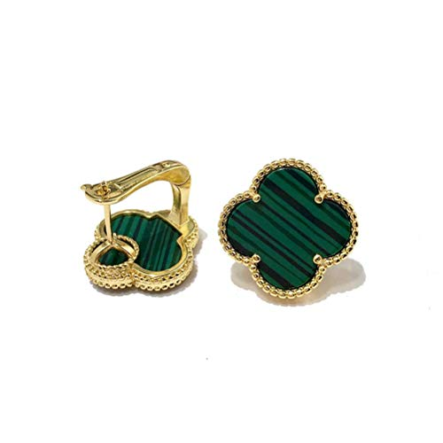 Exquisite Plated 18k Gold Four-leaf Clover Black and White Red and Green Shell Agate Large Single Flower Earrings-Leaf Onyx Clover Stud Earrings for Women &Girls (Green-gold)