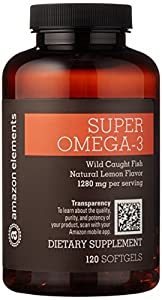 Amazon Brand - Amazon Elements Super Omega-3, Natural Lemon Flavor, 1280 mg per Serving, 120 Softgels, 2 Month Supply