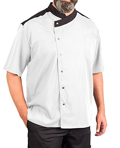 (KNG Lightweight Uptown Snap Front Chef Coat, White with Black Accent, 2XL )
