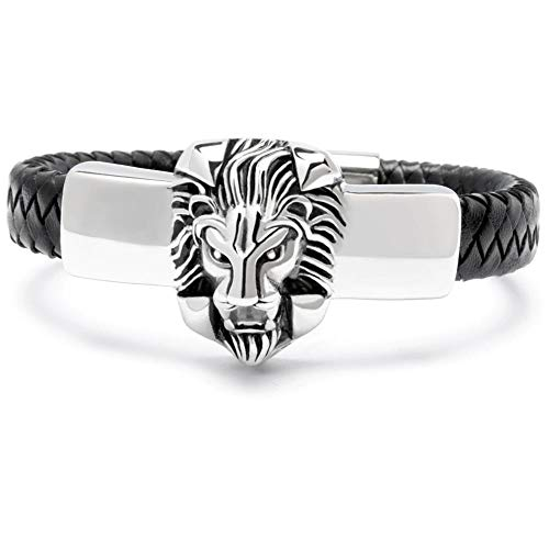 Schmuck-Checker schwarzes Löwen Armband aus echtem Leder 316L Edelstahl Harley Bikerschmuck Bikerarmband Bikergeschenk