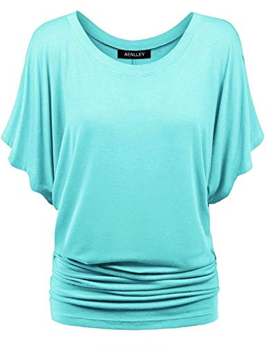 Aenlley Womens Boat Neck Dolman Top Short Sleeve Solid Shirring Drape Jersey Tops Color Blue Size XL
