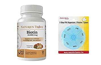 Biotin 10.000 mcg fuerza máxima por el tesoro de la naturaleza - 240 EZ masticar tabletas