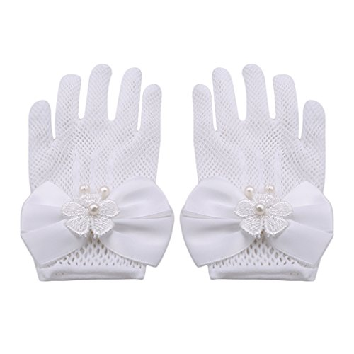SOURBAN Girls Bowknot Gloves Wrist Length Ivory Lace Net Voile Short Princess Gloves for -