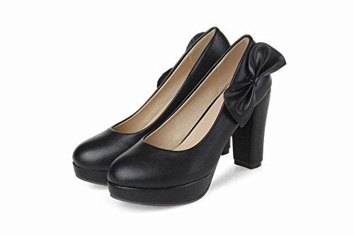 MissSaSa Damen Chunky high-heel Low-cut Plateau Pumps mit Schleife elegant und modern runde Spitze Braut/Kleidschuhe Schwarz