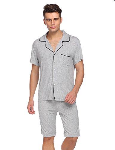 Ekouaer Mens Summer Pajama Set Solid Two Piece Pj Set(Flower Gray, Small)