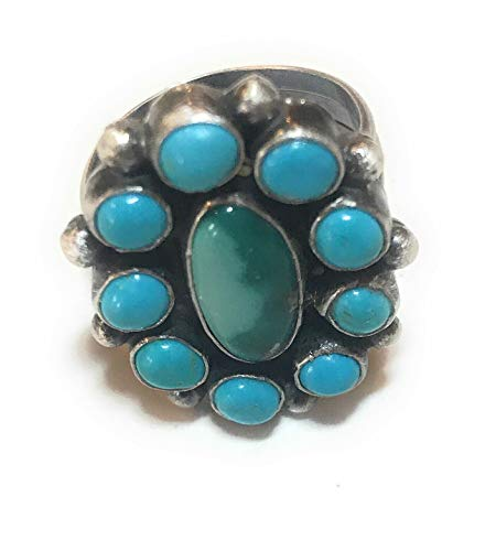 BEAUTIFUL!! Navajo Sterling Silver And Turquoise Cluster Ring Sz 9.5 ()