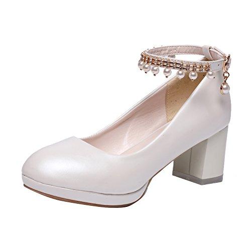 YE Damen Ankle Strap Pumps Blockabsatz High Heels Plateau Geschlossen mit Riemchen und Perlen Elegant Schuhe