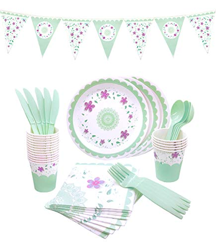 (145 Piece Floral Party Supplies Set | Disposable Dinnerware Set | Services 24 - Includes Plastic Knives, Spoons, Forks, Paper Plates, Napkins, Cups, Banner | Perfect for Tea Party, Birthday,)