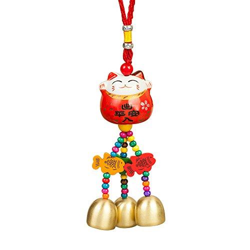 Maneki Neko  Lucky Cat Car Charm Porcelain Figurine Hanging Pendant (Red)