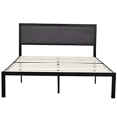 Platform Metal Bed Frame with Linen Upholstered Headboard, Mattress Foundation, No Box Spring Needed with Solid Wood Slat Support