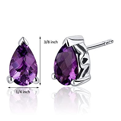 1.50 Carats Amethyst Pear Shape Basket Style Stud Earrings in Sterling Silver Rhodium Nickel Finish