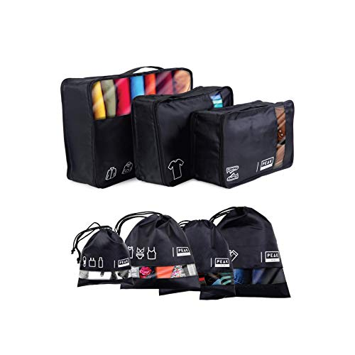 Peak Gear Travel Packing Cubes and Luggage Organizer - Cubes and Drawstring Bag Set (7 Pcs)
