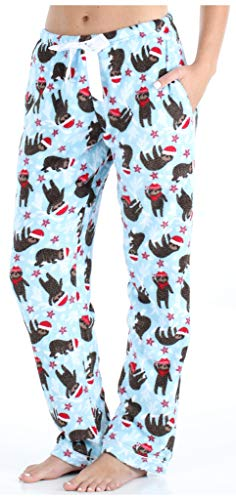 PajamaMania Women's Fleece Pajama PJ Pants, Christmas Sloth (PMPFR1003-2088-CAN-XS)